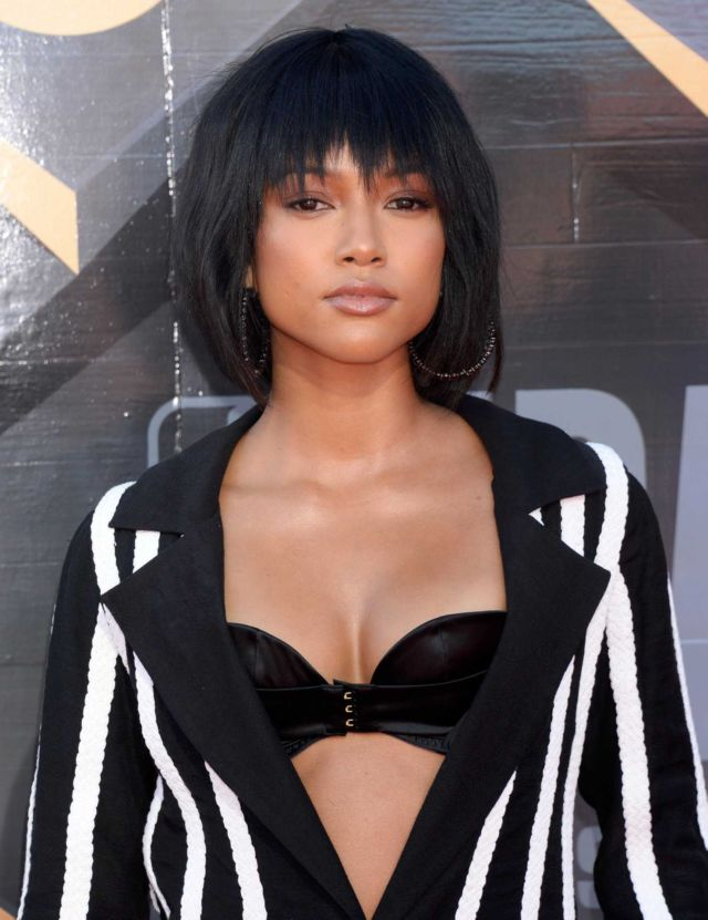 Karrueche Tran In Black N White Outfit At 2018 NBA Awards