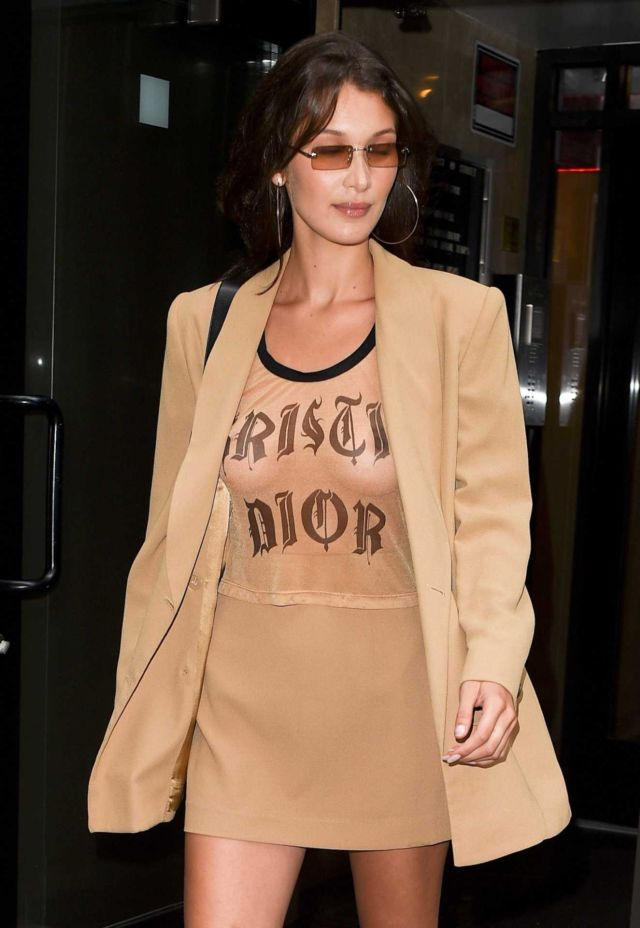 Bella Hadid Candids In Golden Dress In New York