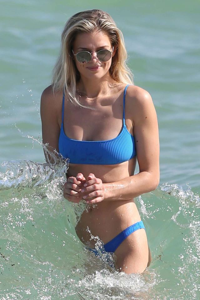 Danielle Knudson In A Blue Bikini At Miami Beach