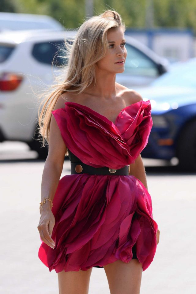 Joanna Krupa Out In A Rose Dress In Warsaw