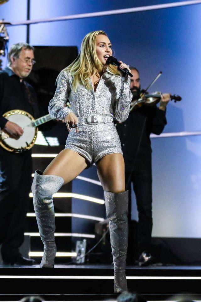 Miley Cyrus Performs At 'Elton John' Concert
