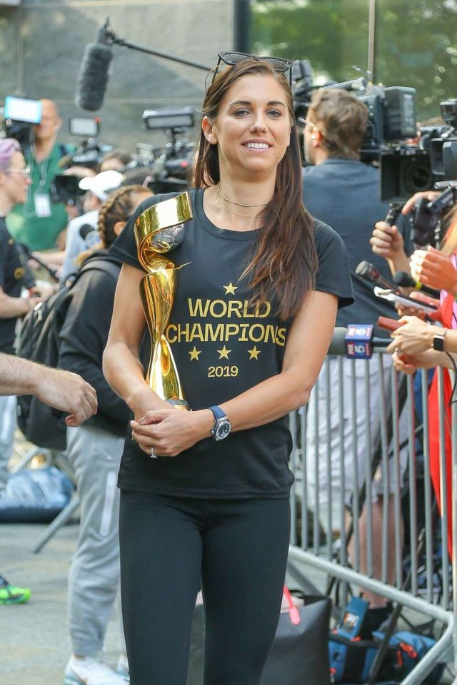 Alex Morgan Holding The FIFA Women's World Cup 2019 Trophy In New York