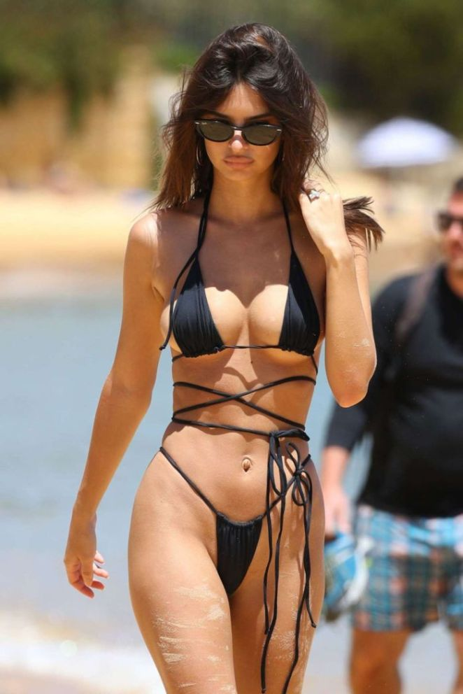 Emily Ratajkowski Candids In Black Bikini At The Gold Coast Beach