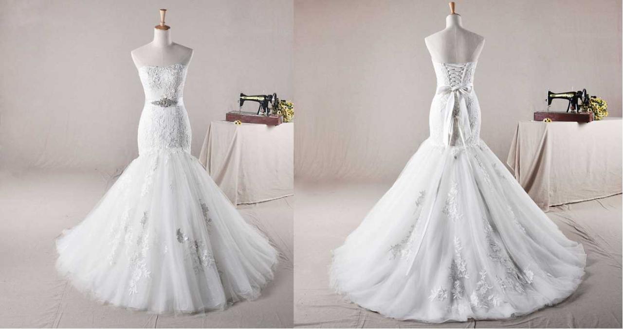 STRAPLESS TRUMPET / MERMAID NET OVER SATINWEDDING Wedding