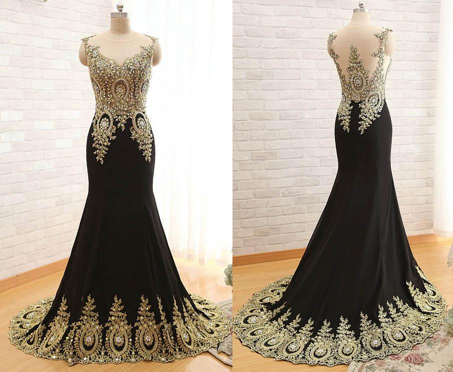 Custom Made V-Neck Elegant Mermaid Dress Black Floor