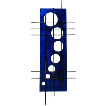 vibrant cobalt blue candy tones are muted slightly with the distressed effect on this modern wall decor called holy stix in aged blue