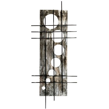 holy stix features a bold grid pattern laid over a pattern of circles and this one is in a distressed or aged steel finish