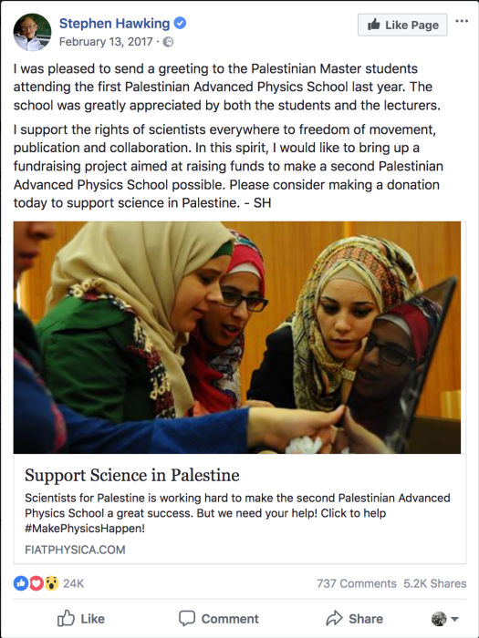 Stephen Hawking Facebook post about fundraising for Palestinian science school