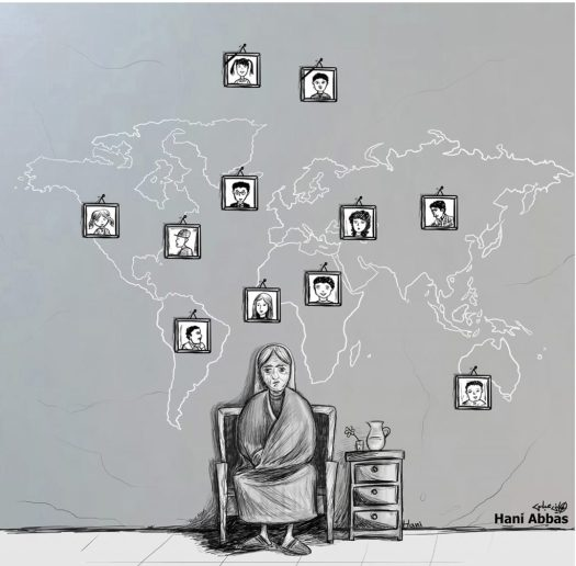Hani Abbas cartoon: kinderen verspreid over de hele wereld