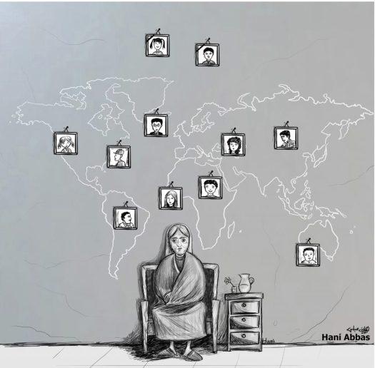 Hani Abbas cartoon: kinderen verspreid over de hele wereld