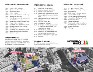 Programmafolder van de Nakba-herdenking op 12 mei in Rotterdam