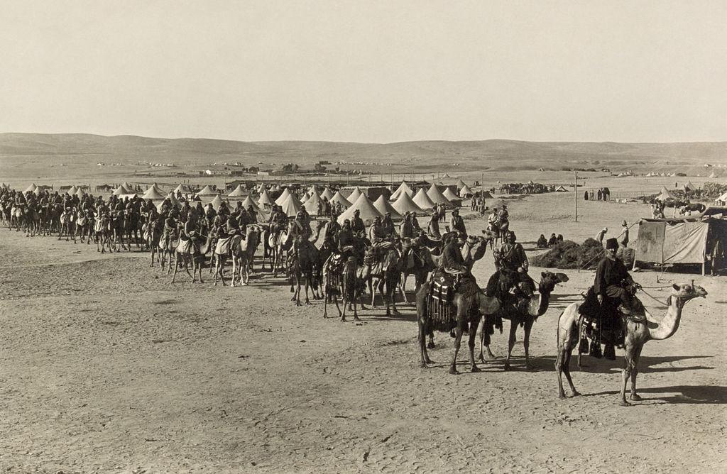 Camel corps in Beersheba