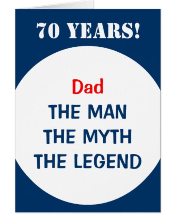 Dad: The Man, The Myth, The Legend 70th birthday card