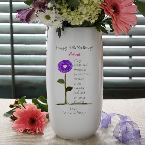 Personalized 70th Birthday Flower Vase - Perfect 70th Birthday Gift for Women