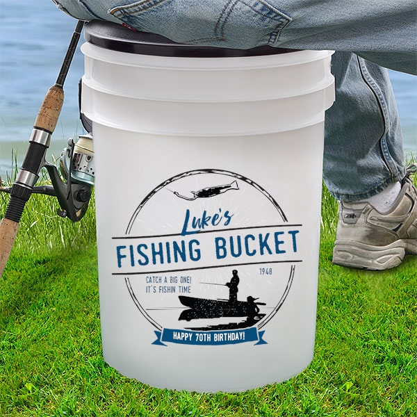 70th Birthday Fishing Bucket Gift