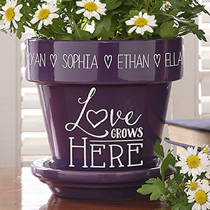 Love Grows Here Flower Pot - Perfect Gift for 70th Birthdays