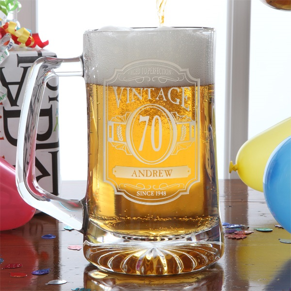 Personalized Beer Mug - Perfect 70th Birthday Gift for Beer Lovers!