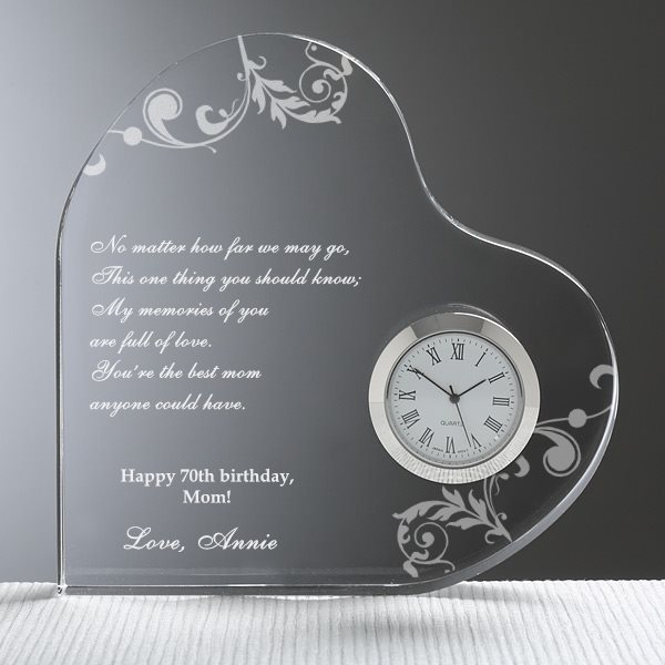 Personalized Heart Clock - 70th Birthday Gift Ideas for Mom