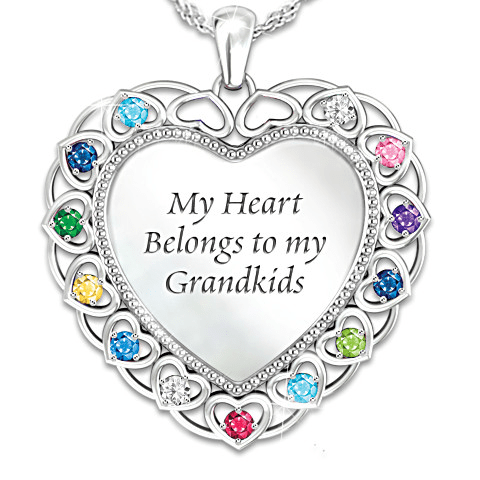 My Heart Belongs to My Grandkids Necklace - Perfect 70th Birthday Gift