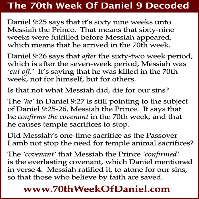70th week of Daniel 9 Messiah the Prince
