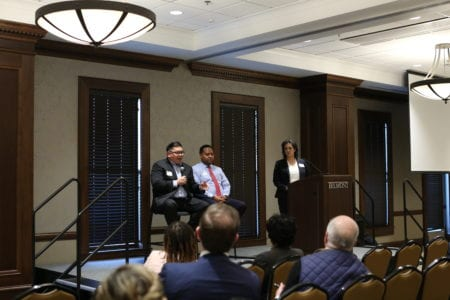 Corporate panel with Chris Javillonar from Permobil and Terrence Reed from FedEx.