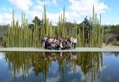 group photo in the garden-cacti and a reflecting pool