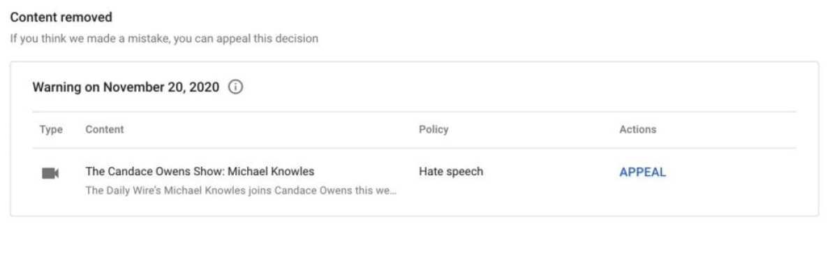 """YouTube has deleted a video featuring Candace Owens, labeling it """"Hate Speech"""""""