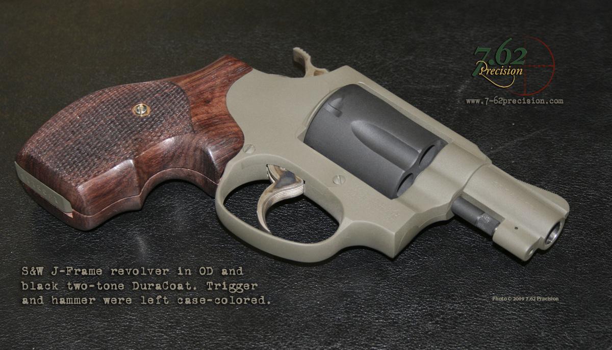 S&W J Frame revolver in flat OD and Black DuraCoat