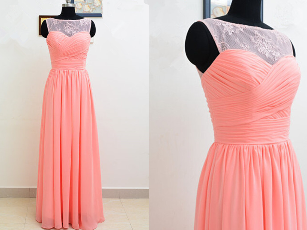 Light Coral Prom Dresses,Chiffon Prom Dress,Lace Prom Gown