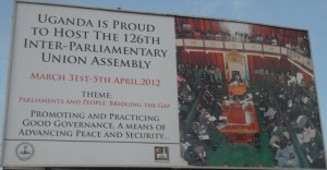 Billboard welcoming parliamentary summit to Uganda