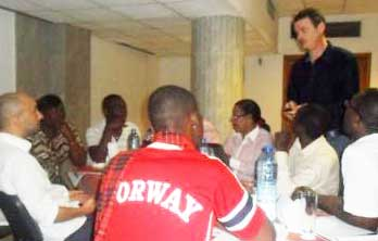 Dr. Jean-Baptiste Guiard-Schmid addresses training session. (Photo by Eric O. Lembembe)