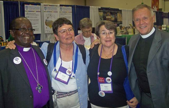 Bishop Christopher Senyonjo (left) poses with Bishop Chilton Knudsen, retired bishop of Maine; Bishop Diane Bruce of Los Angeles; and the Rev. Canon Albert Ogle of San Diego.