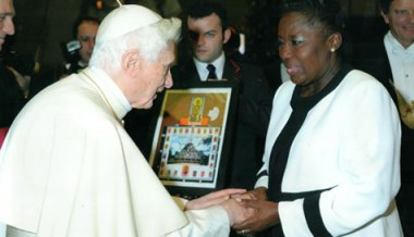 Pope Benedict XVI greets Rebecca Kadaga, speaker of the Ugandan parliament.