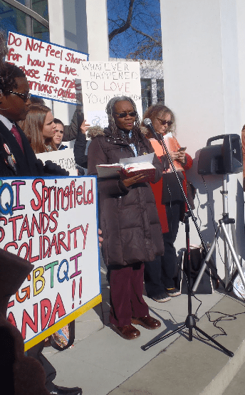 Protesters against Scott Lively at Springfield court on Jan. 7. (Photo courtesy of  O-blog-dee-o-blog-da)