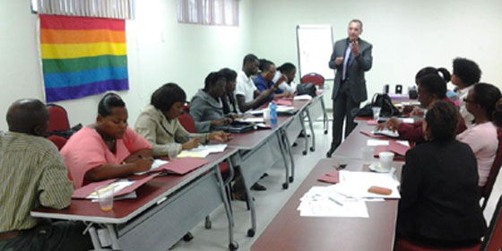 LGBT 101 session in Barbados, presented by the Rev. Tom Decker of Rochester, N.Y. (Photo courtesy of Maurice Tomlinson)