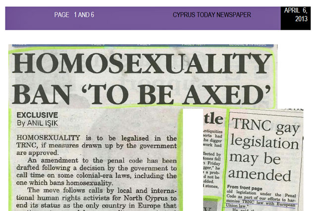 Cyprus Today reports on plans to repeal anti-homosexuality laws in Northern Cyprus.