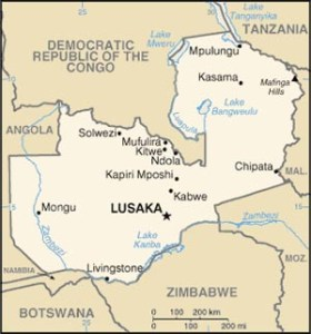 Map of Zambia shows Kapiri Mposhi, where the men were arrested, and Kabwe, where they are currently jailed.