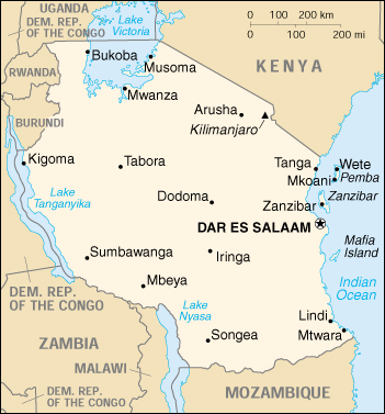 East Africa map shows Tanzania, with semi-autonomous  island of Zanzibar off shore.