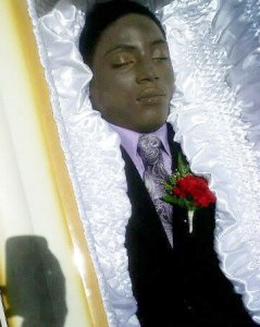 Dwayne Jones in his casket