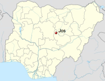 Location of Jos in Nigeria. (Map courtesy of Wikipedia)