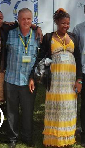 Patience Ngo Mbeh (right) with the Rev. Canon Albert Ogle and other activists in the Gambia.