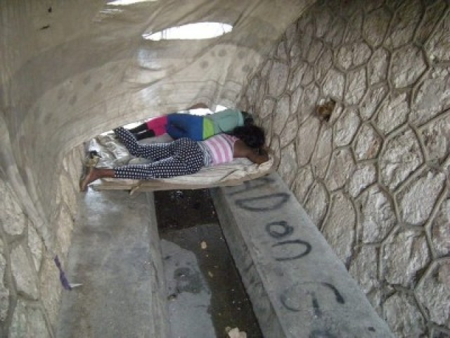 Homeless LGBT youths sleeping in Jamaican sewers. (Photo courtesy of Micheal Forbes)
