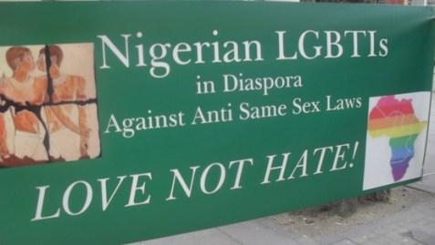 Banner of Nigerian LGBTIs in Diaspora opposes anti-gay law.