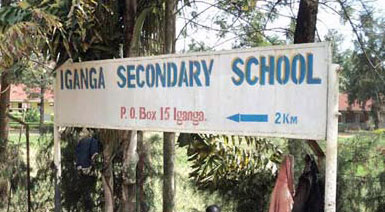 Sign points the way to Iganga Secondary School (Photo courtesy of Daily Monitor)