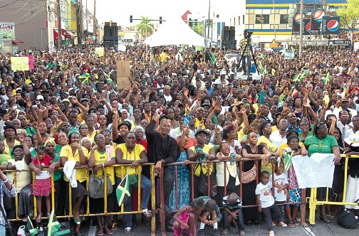 Tens of thousands of Jamaicans turned out for the anti-homosexuality rally on Sept. 27, 2015. (Michael Gordon photo courtesy of the Jamaica Observer)