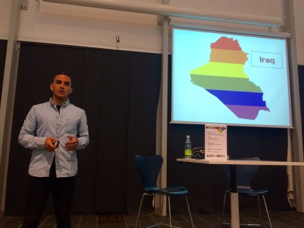 Amir Ashour makes a presentation during Pride events in Lund, Sweden. (Photo courtesy of Madre.org)