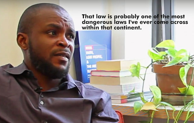 In this GLAAD video, Nigerian LGBT advocate Olumide Femi Makanjuola discusses the reality of being LGBT in Nigeria. (Click on the image to see the video.)