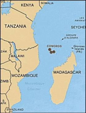 Location of Comoros off the east coast of Africa. (Map courtesy of Wikipedia)