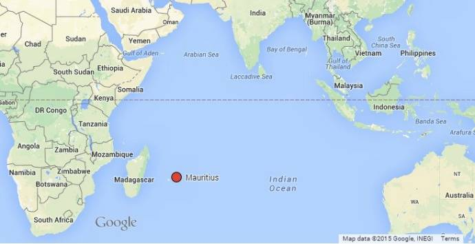 Location of Mauritius east of Madagascar in the Indian Ocean. (Map courtesy of Google and MauritiusInsideOut.com)
