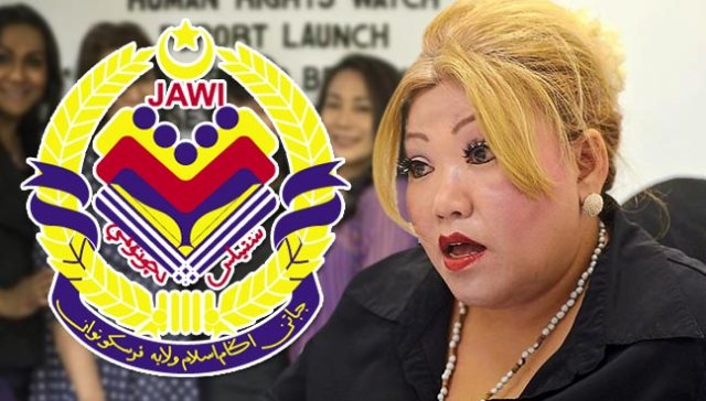 Photo of attorney Siti Kassim (right) with the logo of the Federal Territories Islamic Department, or JAWI (Photo courtesy of FreeMalaysiaToday.com)